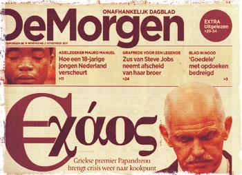 """Πρωτοσέλιδο της βελγικής εφημερίδα """"De Morgen"""" μετά την περίφημη εξαγγελία στο Καστελόριζο..."""