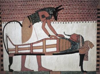 Ανούβης, ο Θεός των Νεκρών πάνω από τη μούμια του Σεννουτέμ, στη Μεδίνα, Λούξορ -Θήβαις (1400-1350 π.Χ.)