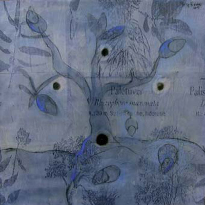 Stratos Fountoulis, Opus Dei(?) 33, mixed media on canvas 60x60cm, 2005