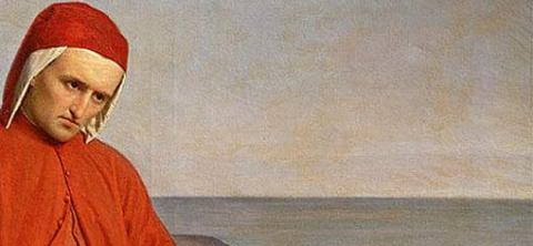 O Dante στην εξορία, ελαιογραφία του Domenico Peterlini (1822–1891) - κάντε ΚΛΙΚ για να δείτε ολόκληρο το έργο